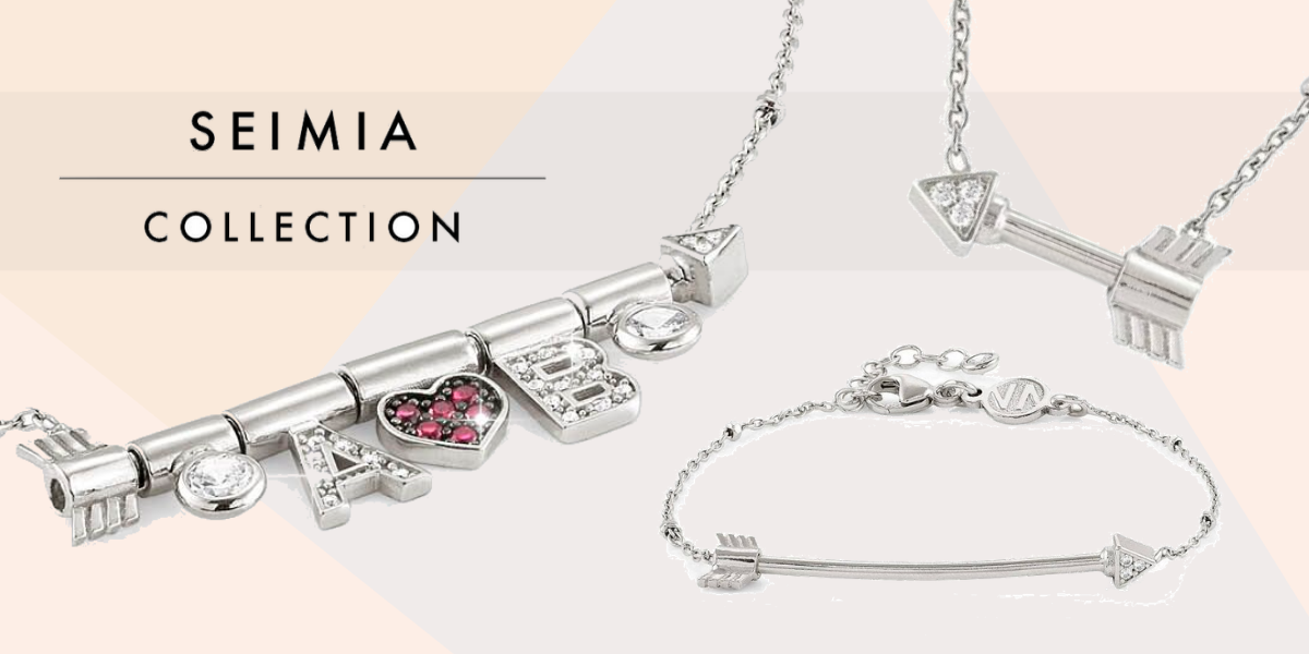nomination italy - seimia collection - arrow and heart themed jewellery - bracelets - pendants - silver jewellery