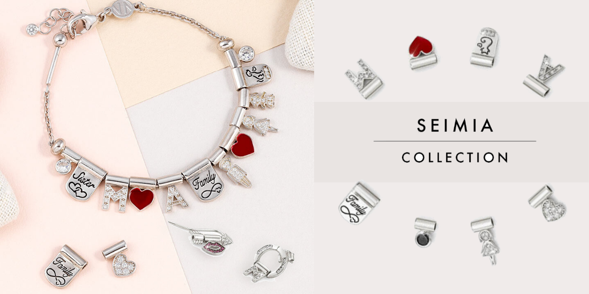 nomination italy - seimia collection - arrow and heart themed jewellery - charm jewellery - little red heart charms
