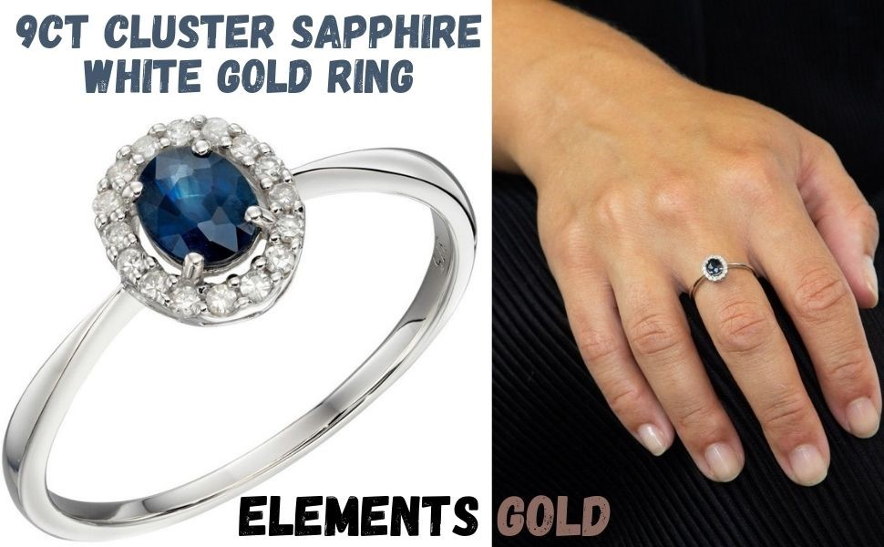 elements gold - 9 ct. Cluster Sapphire White Gold Ring -