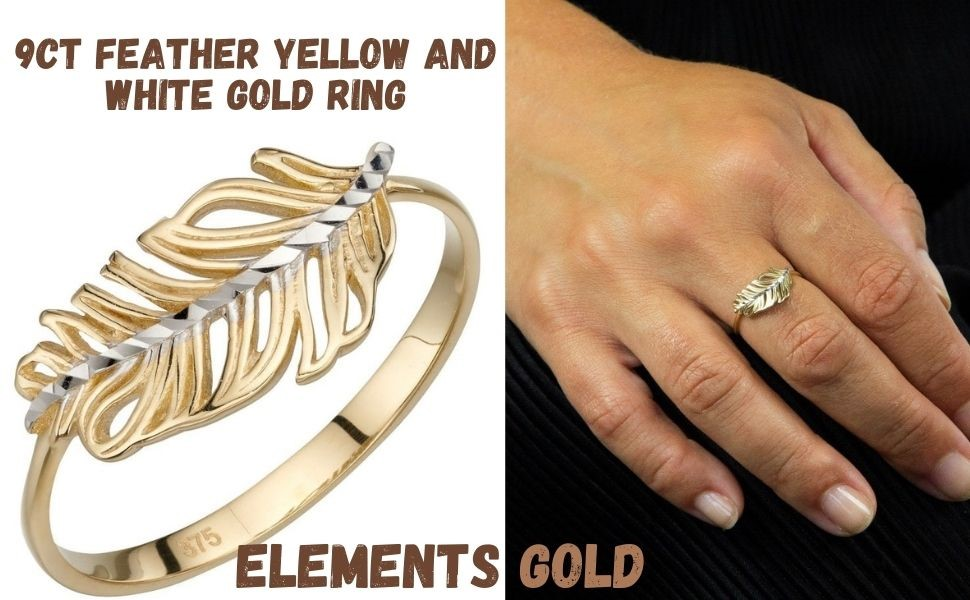 Elements Gold - 9ct. Feather Yellow and White Gold Ring