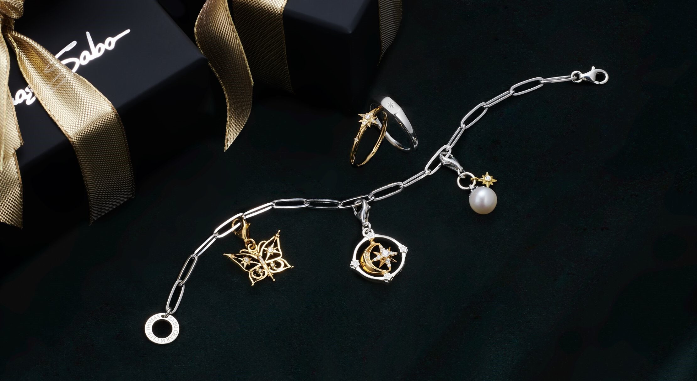 Thomas Sabo - Charm Jewellery - Stars and Moon Charms - Chain Bracelet - Gold and Silver Jewellery