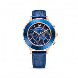 rose gold tone watch - Swarovski watch - blue dial - blue bezel - leather strap - valentines gift
