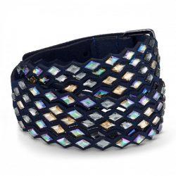 Swarovski bracelet - navy blue bracelet with blue gold-tone crystals