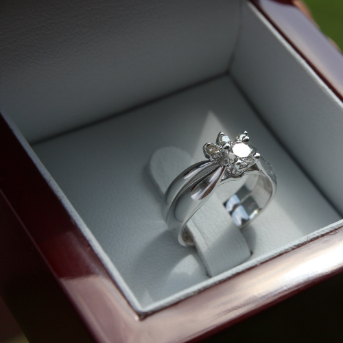 Engagement ring in dark light