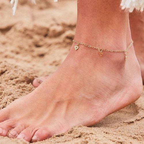 Woman wearing anklet bracelet