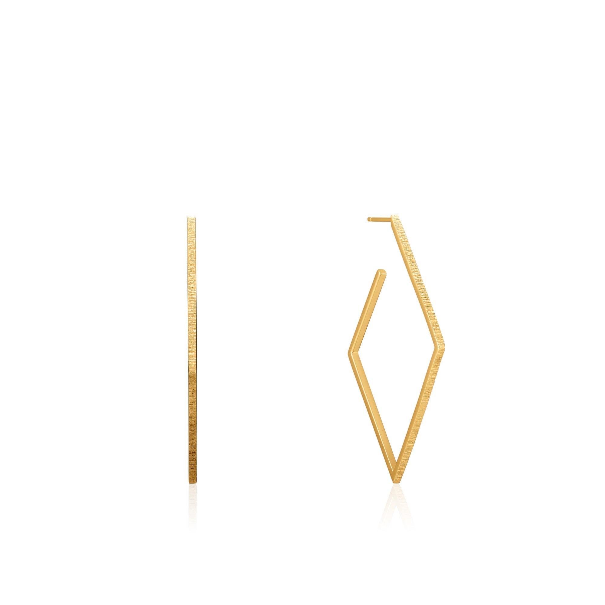 Ania Haie Ear We Go Shiny Gold Texture Diamond Hoop Earrings E023 22g