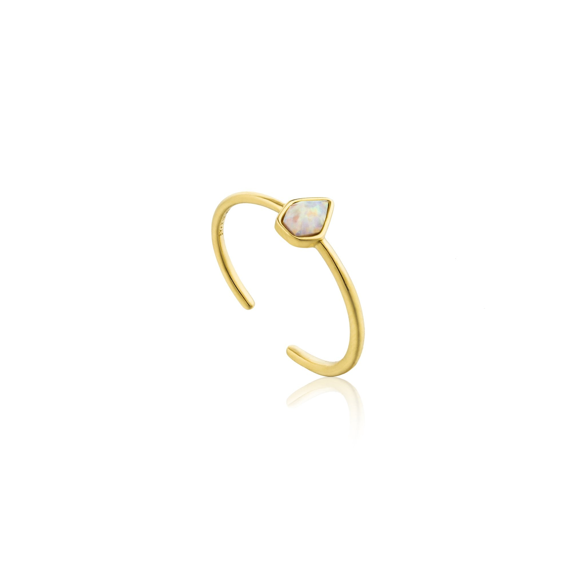 Details about  /Ania Haie Sterling Silver Shiny Gold Plated Modern Curve Ring R002-03G