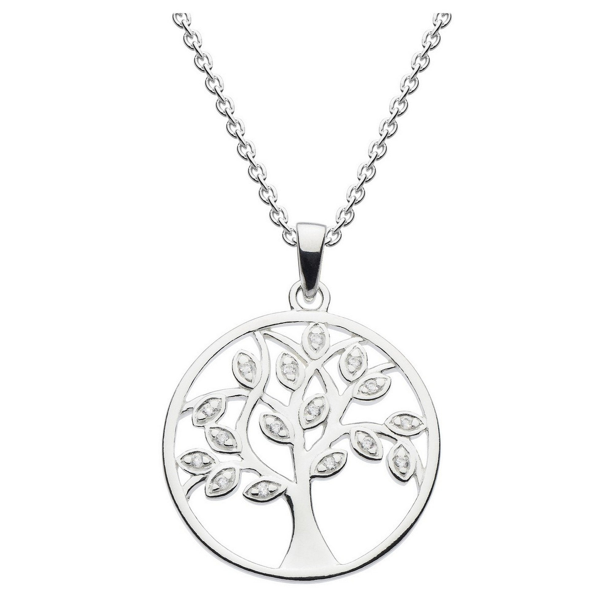 Sterling Silver Necklace w// CZ Stones Circle Tree Pendant