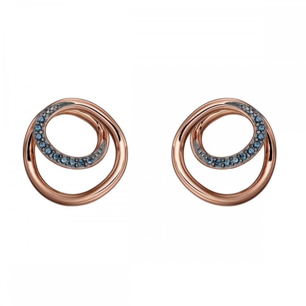 Fiorelli Silver Circle Spiral Design Montana Detail Rose Gold Earrings E5658l