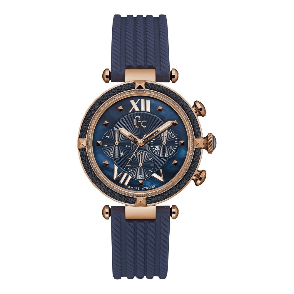 Gc Watches Gc Cablechic Ladies Blue and Blue Rose Gold Watch Y16005L7