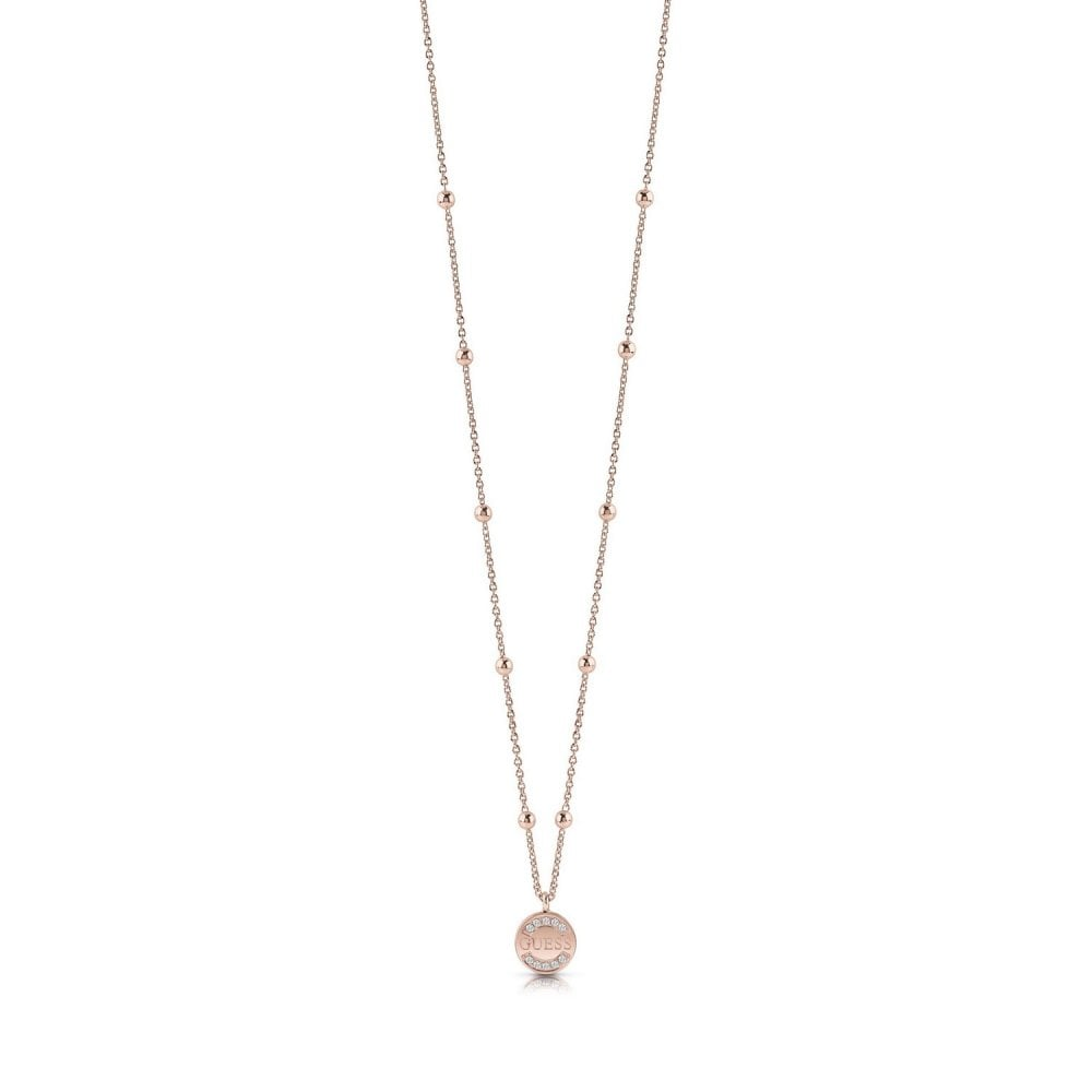 Guess Rose Gold Plated Swarovski Crystals Necklace Ubn28039