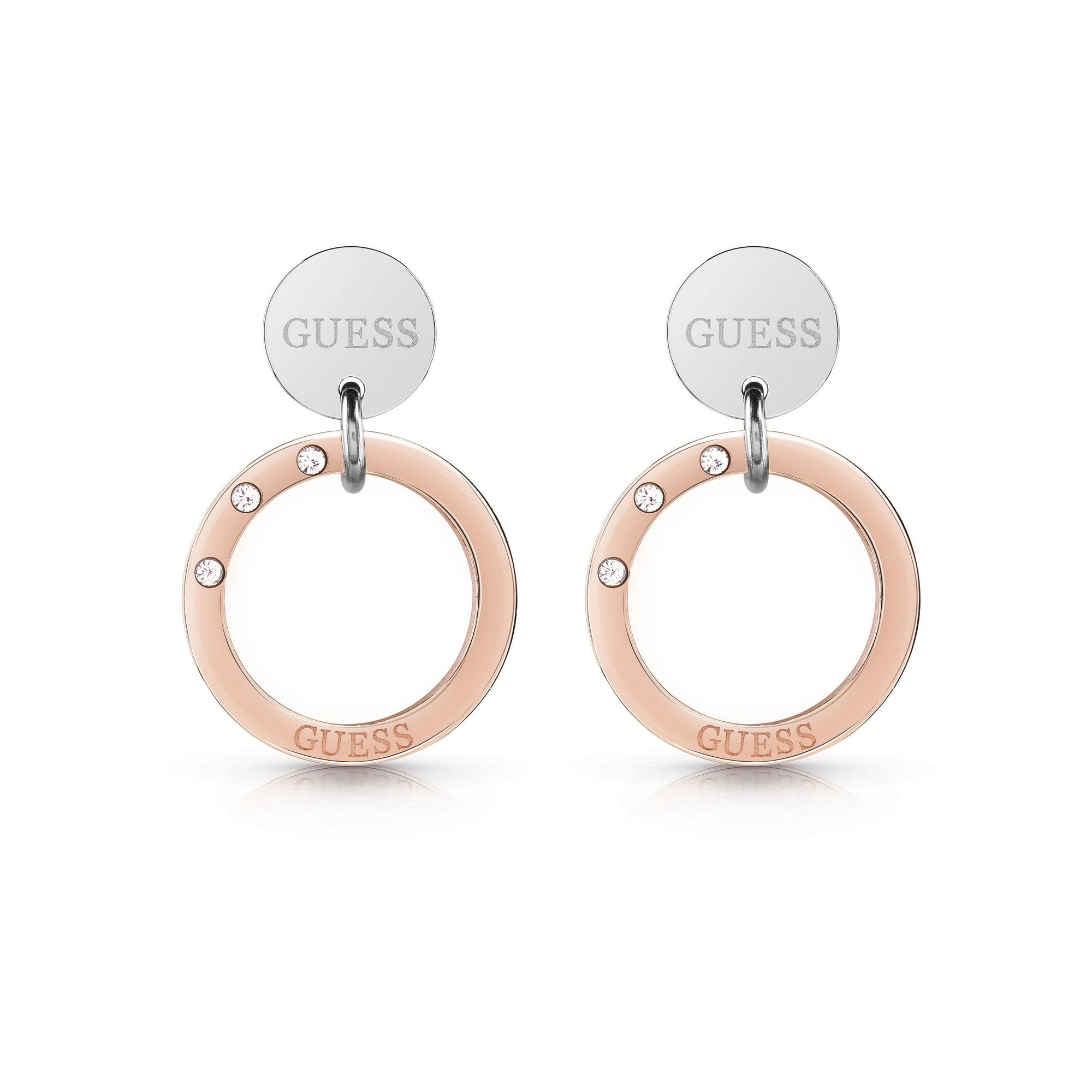 Guess Logo Coin Circle Silver Rose Gold Earrings Ube29033