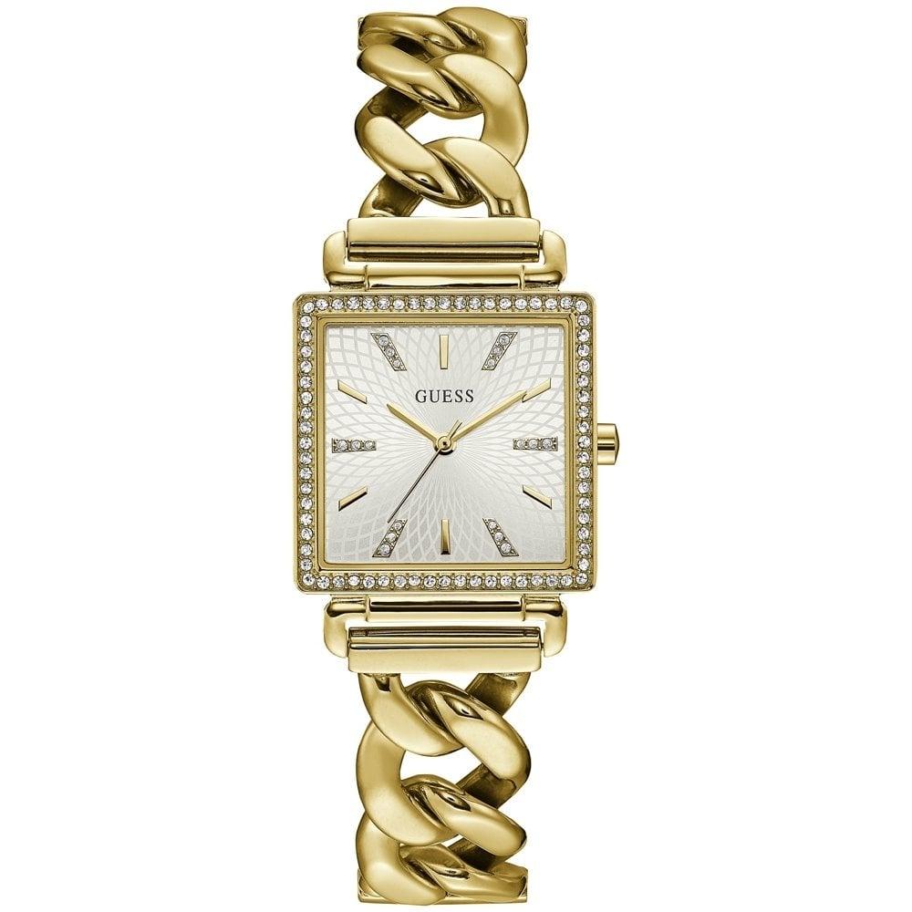 doppio coupon sito web professionale prima clienti Guess Ladies Gold Watch Crystals Sunray Champagne White Dial Chain ...