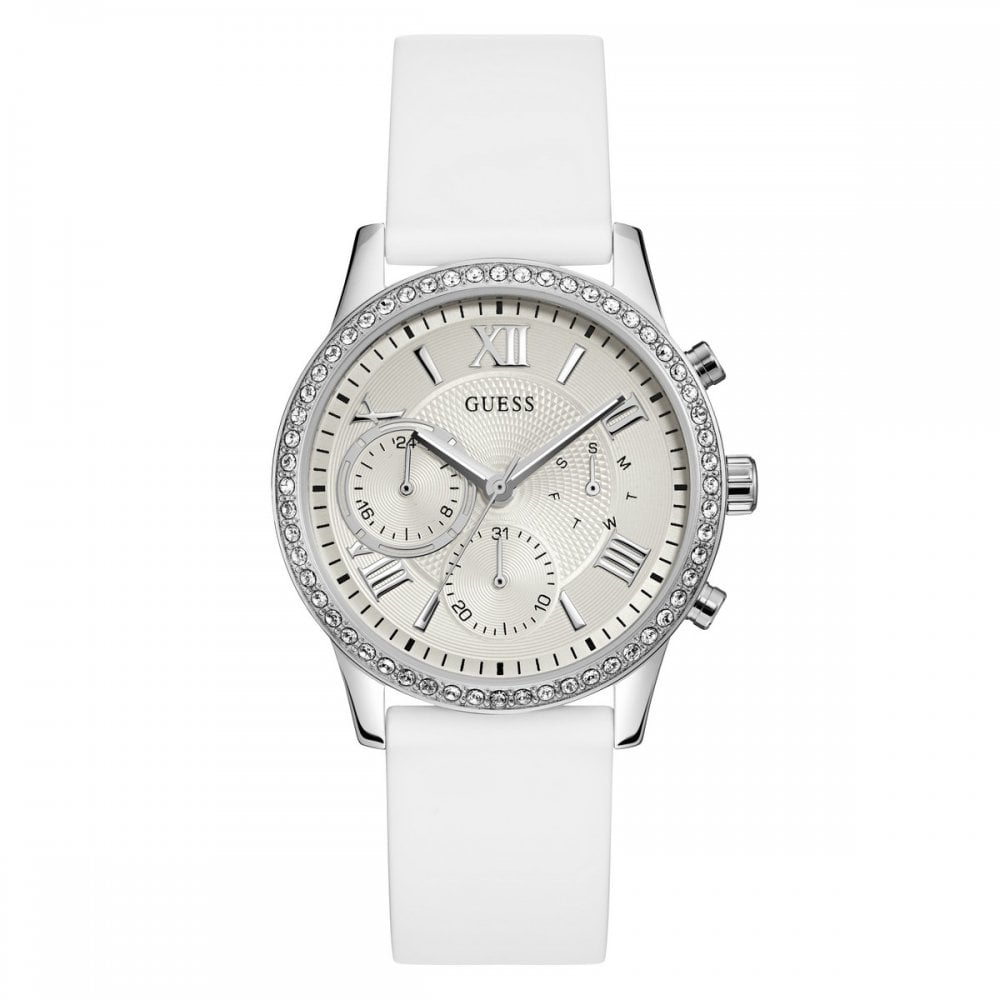 lowest price 2018 shoes new lower prices Guess Ladies Silver Watch White Silicone Strap W1135L7